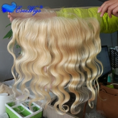 Hotsale 100% Human Hair Virign Peruvian Hair Top Grade 8A Grade Lace Frontal Closure Blond 613# 13X4 Lace Frontal Body Wave