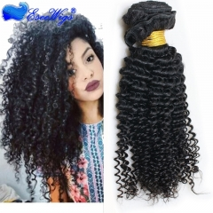 Kinky Curly Hair Peruvian Remy Human Hair Weave 3 Bundles Natural Color